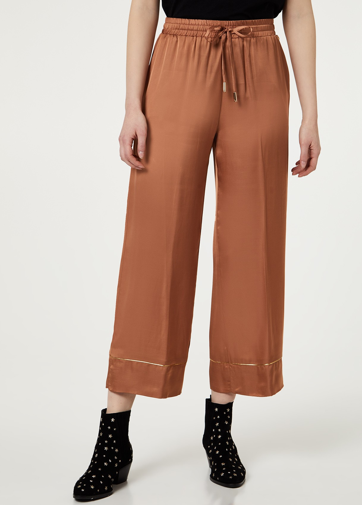 LIU JO PANTALONE JOGGING LARGO CROPPED CARAMEL LIGHT