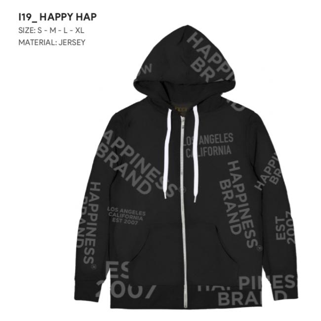 HAPPINESS UOMO FELPA ZIP SCRITTE HAPPYHAP NERO