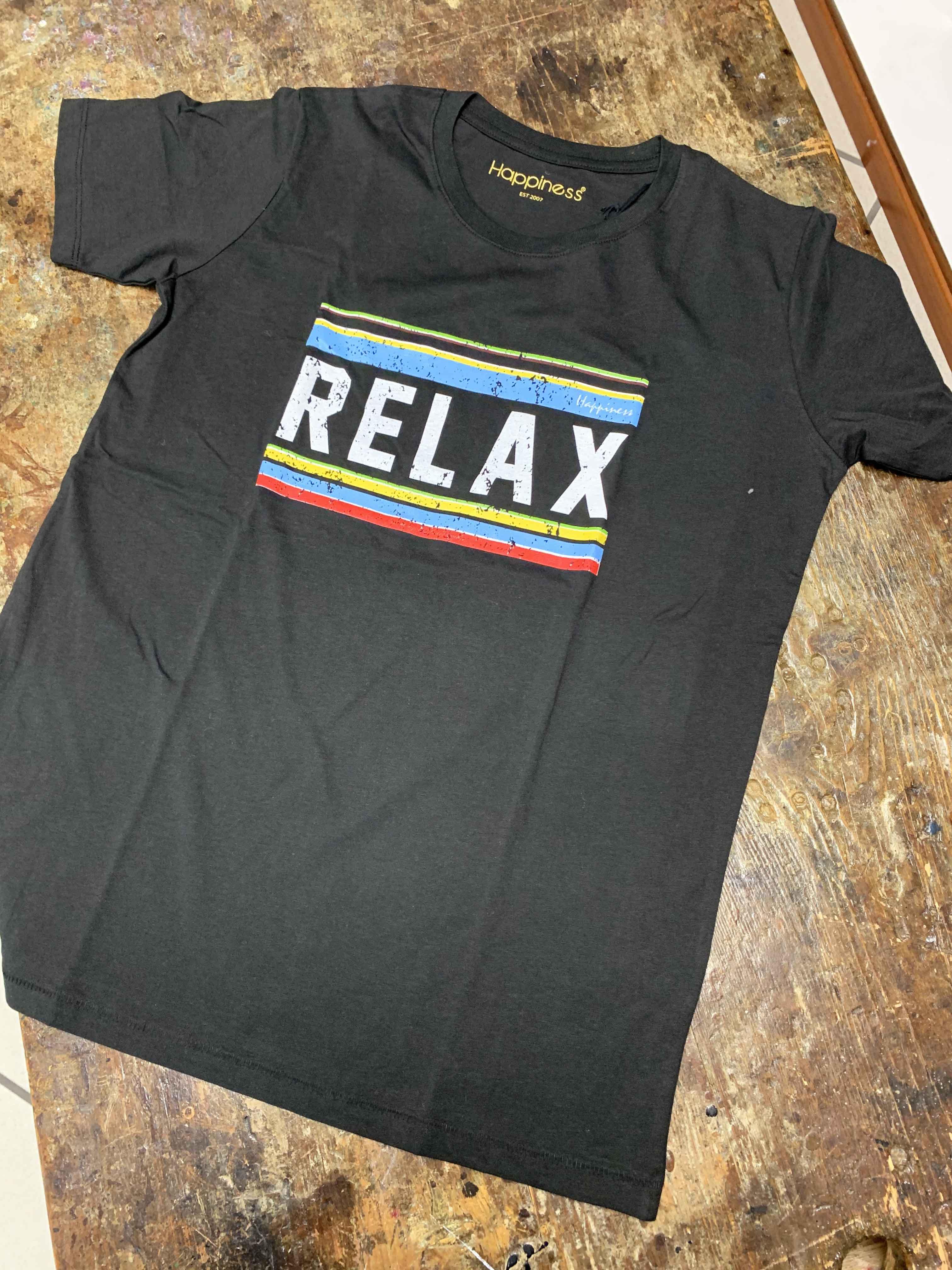 HAPPINESS UOMO T-SHIRT RELAX NERO