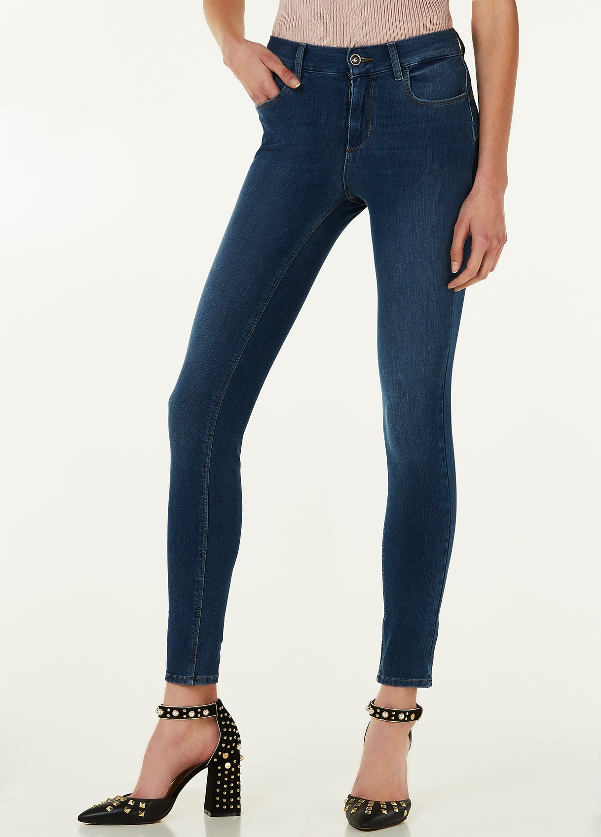 LIU JO JEANS DIVINE VITA ALTA AMAZING FIT ISKO DENIM BLUE ZIPPER WASH