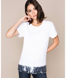 TWINSET T-SHIRT PAILLETTES & STRASS GIGLIO