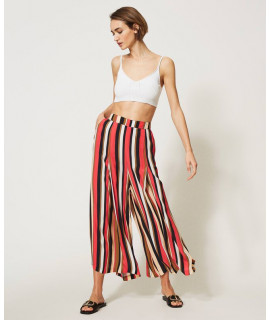 TWINSET PANTALONE STAMPA RIGHE CORAL KISS