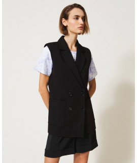 TWINSET GILET DOPPIOPETTO OVER NERO