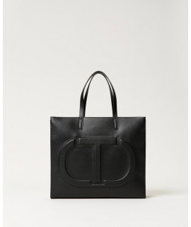 TWINSET BORSA SHOPPING LOGO NERO