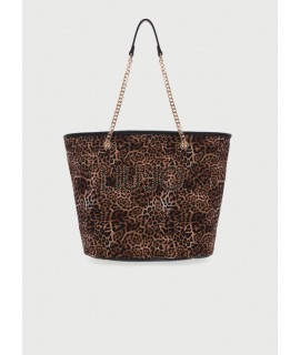 LIU JO BORSA SHOPPING CANVAS ANIMALIER LOGO ST. MACULA/NERO