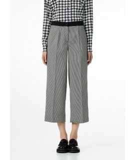 LIU JO PANTALONE CROPPED NERO/WHITE WOOL