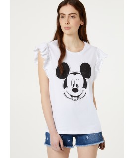 "LIU JO T-SHIRT ""WALT DISNEY MICKEY FACE"" BIANCO OTTICO MICKEY"