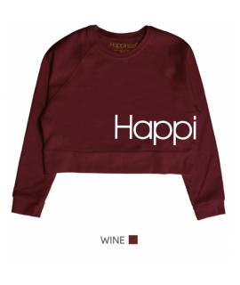 HAPPINESS DONNA FELPA CORTA MEME LOGO WINE
