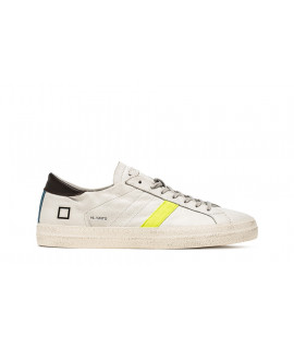 DATE UOMO SCARPE SNEAKERS HILL LOW VINTAGE CALF WHITE-YELLOW