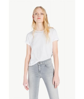 MY TWIN TWINSET T-SHIRT PERLE E PIZZO BIANCA