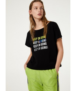 LIU JO SPORT T-SHIRT KEEP ON GOING NERO