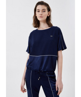 LIU JO SPORT BLUSA INSERTI RASO DRESS BLUE