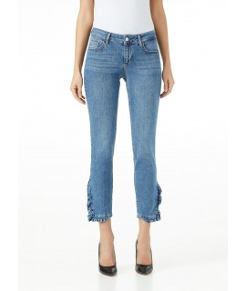 LIU JO JEANS BOTTOM UP RUFFLE VITA REGOLARE DENIM BLUE CARNATION WASH