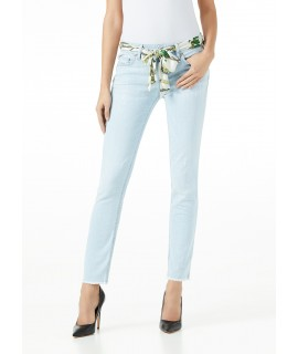 LIU JO JEANS BOTTOM UP IDEAL VITA REGOLARE DENIM BLUE BELT ANGORA