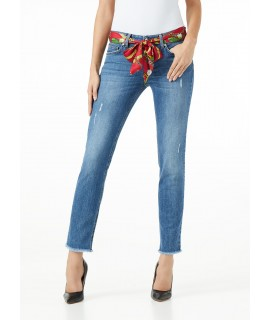 LIU JO JEANS BOTTOM UP IDEAL VITA REGOLARE DENIM BLUE BELT CHILI PEPPER