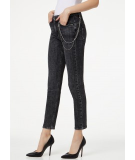LIU JO JEANS BOTTOM UP CUTE VITA ALTA DENIM BLACK ASSIST WASH