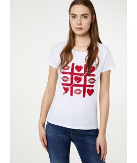 "LIU JO T-SHIRT ""ARROW HEARTS"" BIANCO OTTICO"