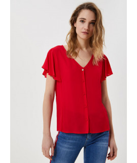 LIU JO TOP BOTTONI VOLANTS TRUE RED