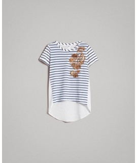 TWINSET T-SHIRT STAMPA RIGA OFF WHITE/BLUE SHADOW