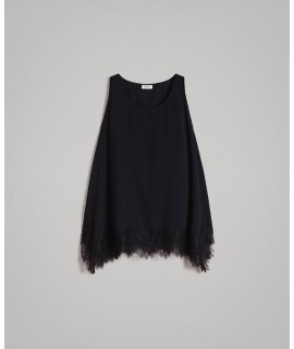 TWINSET TOP IN VOILE CICHY CON PIZZO NERO