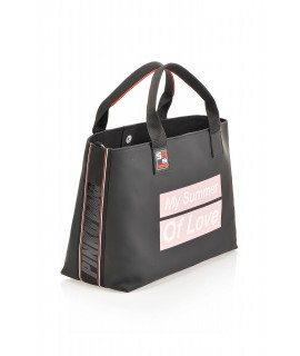 PINKO BAG BORSA SHOPPING GOMMATA NERA