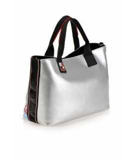 PINKO BAG BORSA SHOPPING GOMMATA ARGENTO