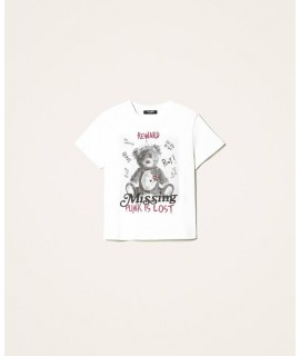TWINSET T-SHIRT ORSETTO OFF WHITE