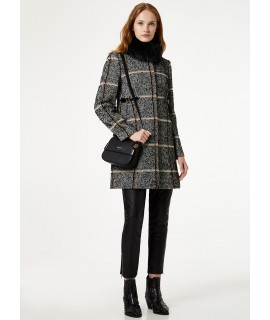 LIU JO CAPPOTTO TARTAN COLLO ECOPELLICCIA BLACK & WHITE