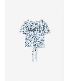 LIU JO T-SHIRT LOGO GLITTER TEX. FLOWERS