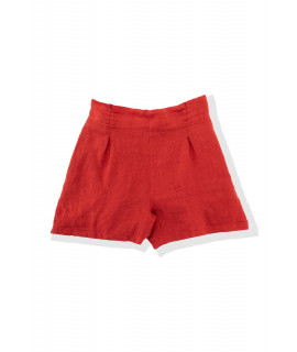 BOMBOOGIE DONNA SHORTS IN LINO CHILI RED (ROSSO)