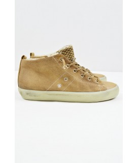LEATHER CROWN SCARPE SNEAKERS MID PELLE SCAMOSCIATA + WOOL CAMEL