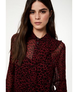 LIU JO CAMICIA ROUCHES BEAUTY RED/NATURAL LEOPARD